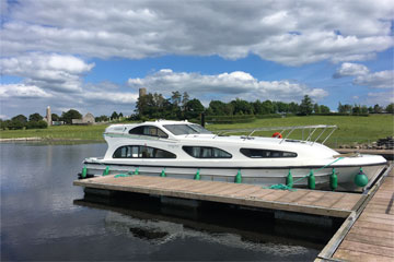 Shannon Boat Hire Gallery - Elegance moored at Clonmacnoise