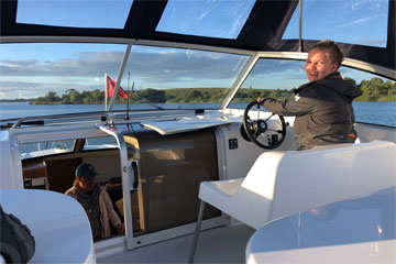 Shannon Boat Hire Gallery - Taking an Inver Duke across Lough Erne