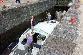 Shannon Boat Hire Gallery - Taking a Clare Class through a Lock on the Lough Allen Canal