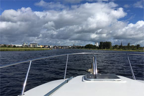 Shannon Boat Hire Gallery - Approaching Athlone on a Carlow Class