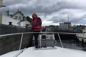 Shannon Boat Hire Gallery - Taking a Carlow Class through a lock in Athlone
