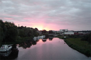 "Shannon Boat Hire Gallery - ""Dawn in Enniskillen on 22.8.04 on a hire from Belturbet. The day Fermanagh drew with Mayo in the All Ireland Semi-Final."""