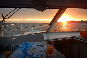 Shannon Boat Hire Gallery - Cruising in a Carlow Class at sunset