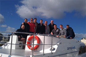 Shannon Boat Hire Gallery - Ian Hoyle and his crew aboard the Roscommon Class Cruiser