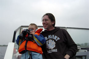 Shannon Boat Hire Gallery - Land Ahoy! Robert Downey and Jim Donnelly on lookout
