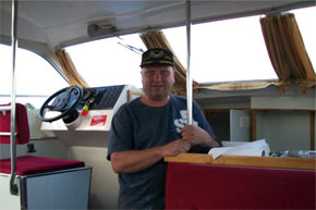Shannon Boat Hire Gallery - Mark Scarff on board a Kilkenny Class