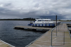 Shannon Boat Hire Gallery - Panoramic view of boats moored.