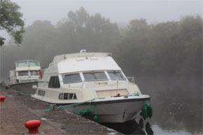Shannon Boat Hire Gallery - Shannon Star moored in the fog