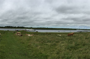 Panoramic view of boats moored near Clonmacnoise