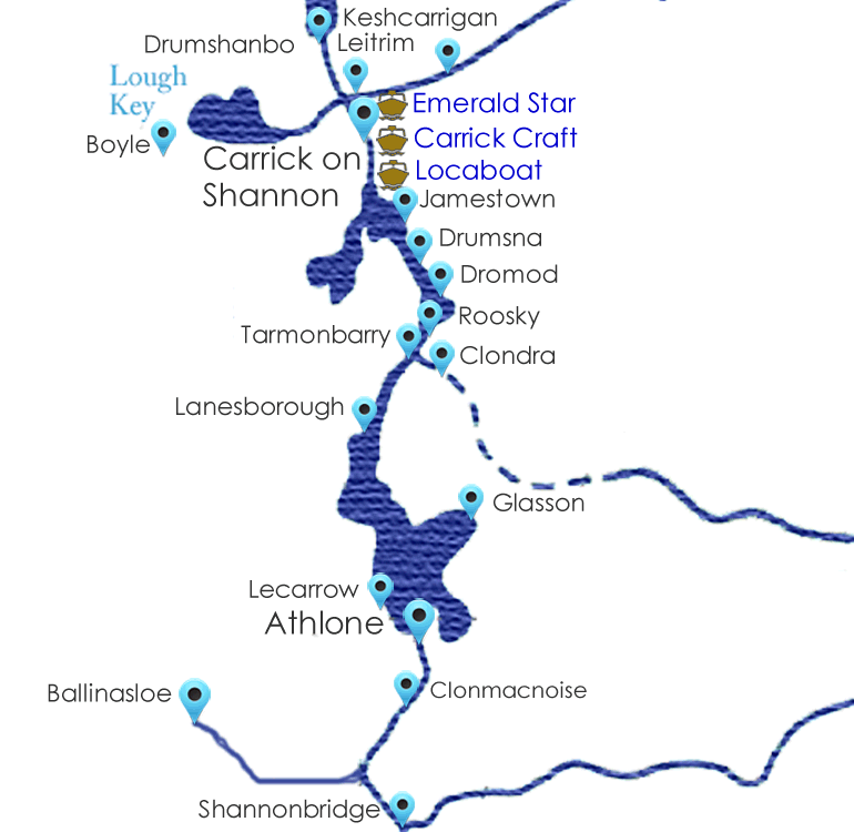 Upper Shannon Cruising Guide Map