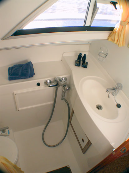 ... One of the bathrooms on the Noble Chancellor Hire Boat