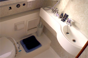 Bathroom on the Noble Commander Shannon River Cruiser
