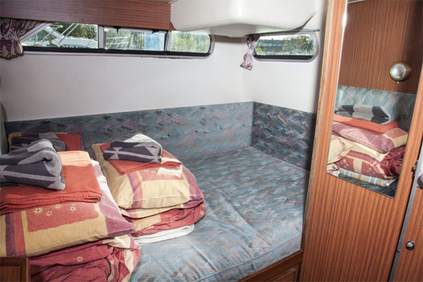 The aft sleeping cabin on the Silver Crest cruiser.