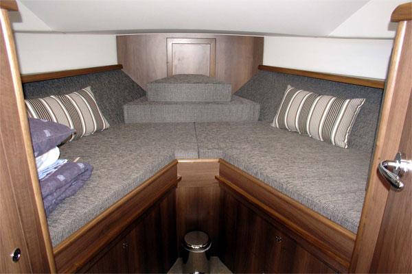Forward cabin on the Noble Duchess hire cruiser