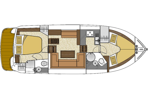 Layout of the Noble Duchess 4+2 berth hire cruiser.