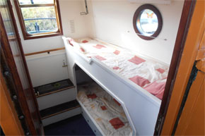 Rear cabin with two bunks on the Dutch Class barge.