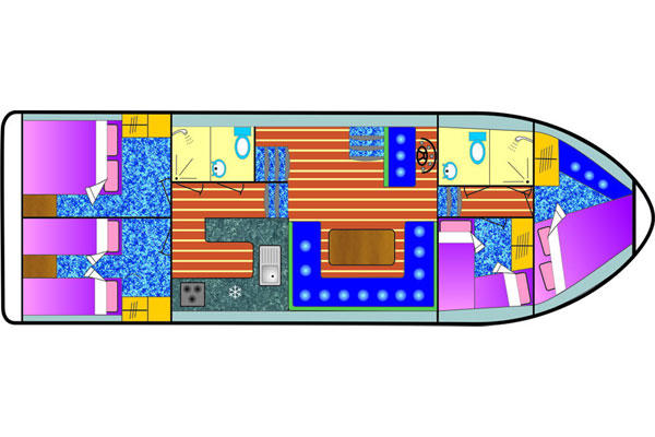 Plan of the Fermanagh Class 8+2 berth Cruiser. Four cabins sleep eight persons and a double in the saloon.