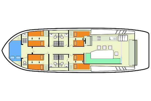 Plan view of the Horizon 5 hire boat.