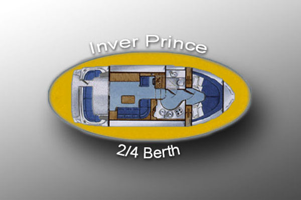 Layout of the Inver Prince 2+2 berth hire boat