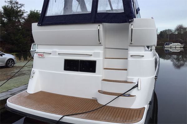 Bathing platform on the Inver King hire boat.