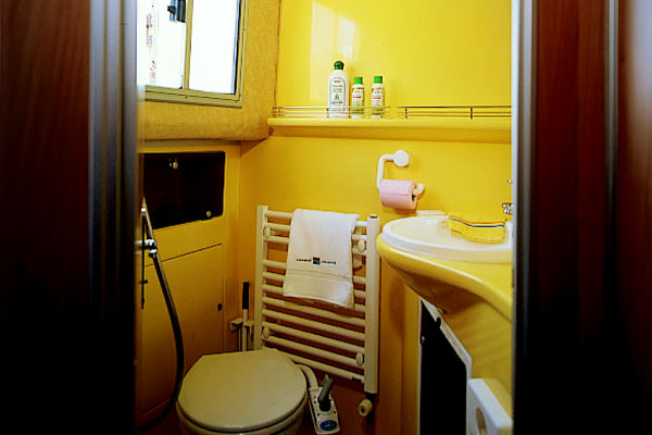 Bathroom on board the P1400