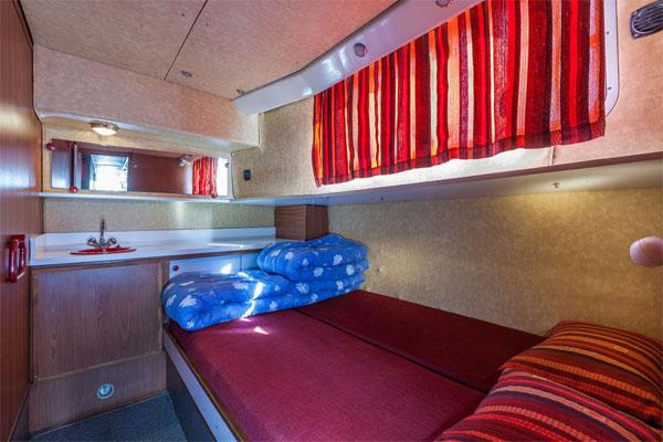 Cabin on the P1500R Penichette for hire Ireland.