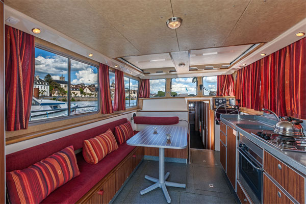 The Saloon on the P1500R Penichette Hire Boat