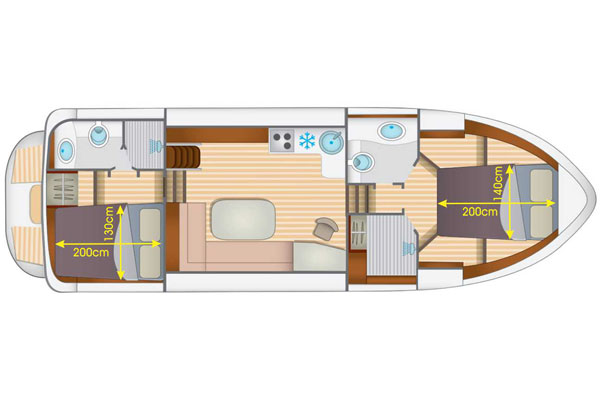Layout of the Linssen Grand Sturdy Hire Boat