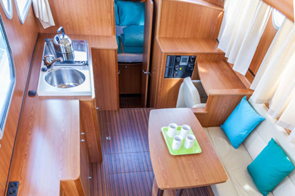 The Saloon on the Linssen Grand Sturdy Hire boat