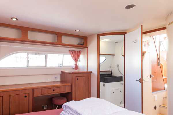 Rear cabin on the Longford Class hire boat.