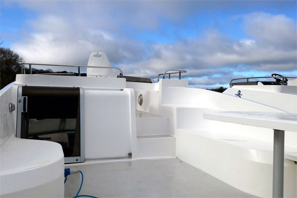 The Fly Deck on the Noble Commander Hire Boat