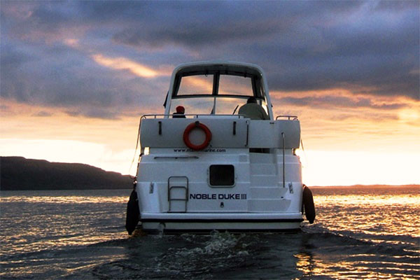 Rear view of the Noble Duke hire boat.