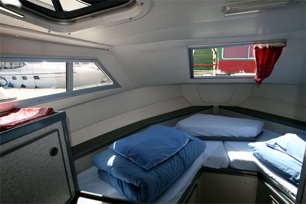The front Cabin on the Wave Queen Cruiser - Shannon River Boat hire Ireland.