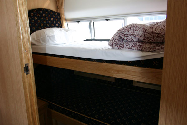 The Bunk cabin on the Roscommon Class Hire Boat