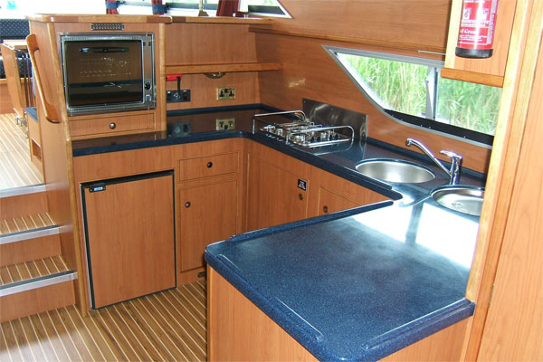 The well-equipped galley on the Roscommon Class.