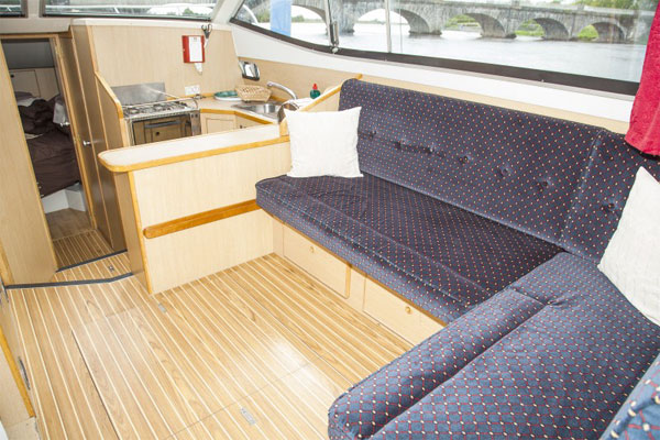 Saloon on the Silver River hire boat.