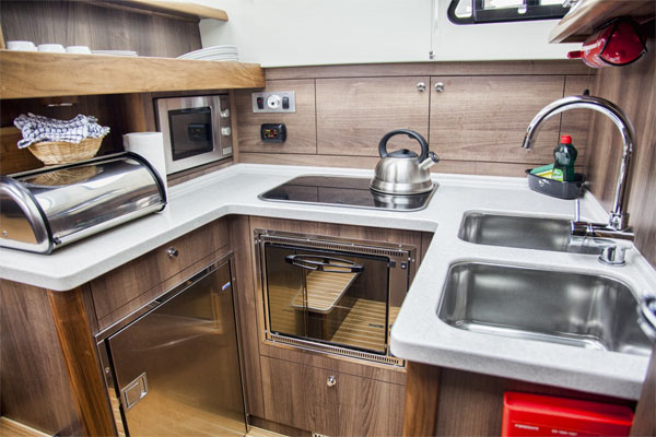 Galley on the Silver Shadow Hire Boat