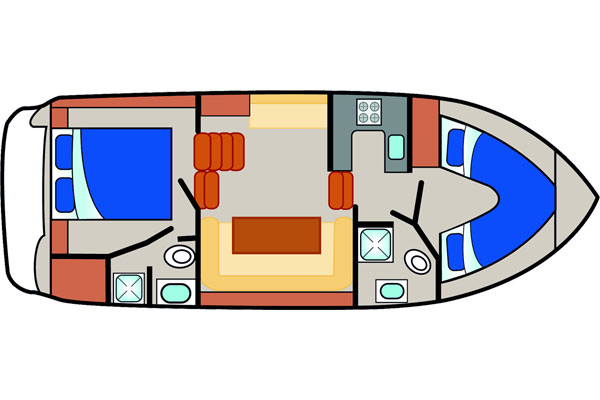 Layout of the Silver Shadow Hire Boat