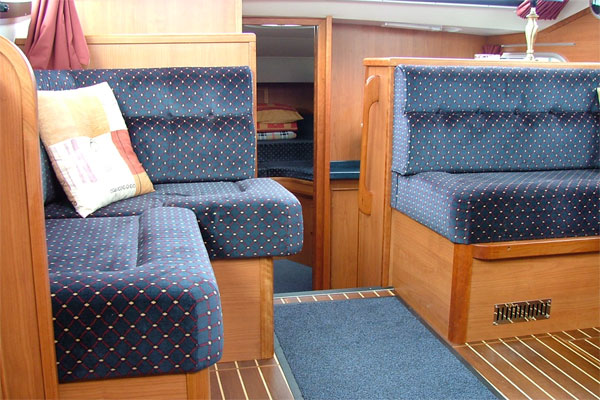 Saloon and Forward Cabin on the Silver Spray hire cruiser