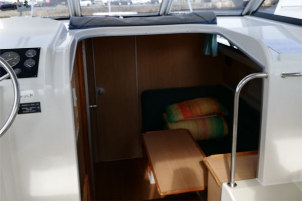 View from the helm to the living area on the Town Star hire boat.