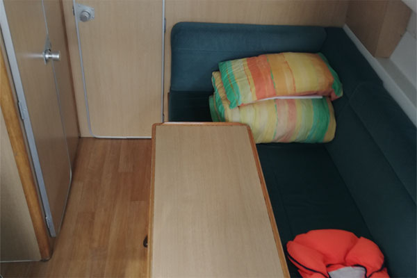 Seating area on the Town Star hire boat.