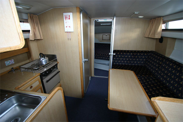 The saloon on the Tyrone Class Cruiser - Shannon River boat hire Ireland.