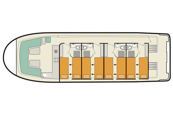 The plan of the Vision 4 Luxury Cruiser on the Irish Waterways