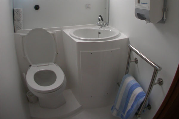 One of the bathrooms on the Wexford Class cruiser.