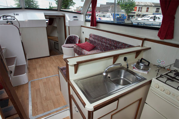 Fully Equipped Galley on the Corvette Cruiser for hire Ireland