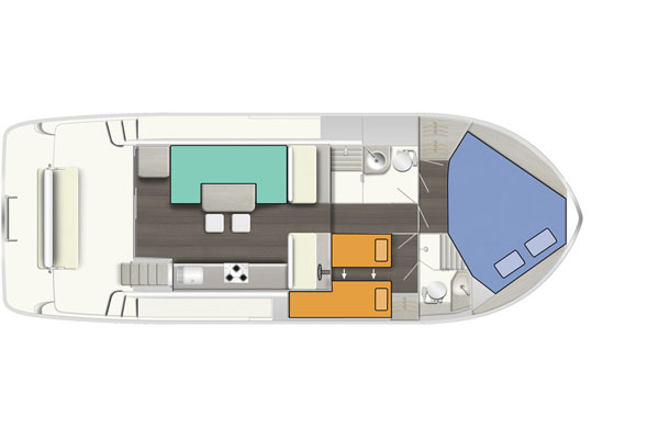 Layout of the Horizon 2S hire Boat