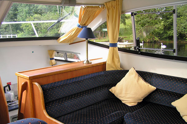 Saloon on the Inver Duke Hire Cruiser in Ireland.