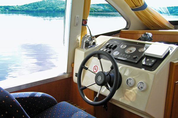 Interior Steering Position on the Inver Duke Hire Cruiser, Ireland.