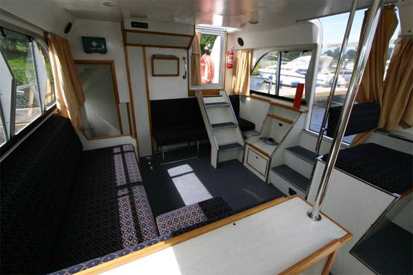 Saloon and steps to flybridge, Kilkenny Class Hire Boat.