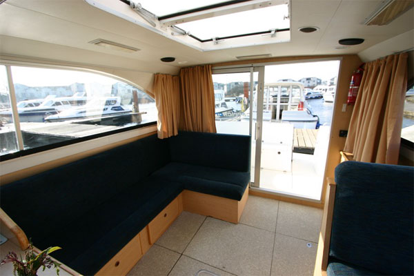 Saloon and rear patio doors on the Limerick Class hire boat.